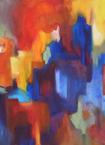 Claudine Fournier Puzzle 40X40cm huile sur toile-BD