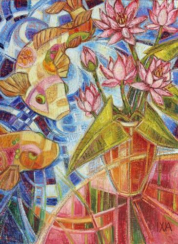 IXIA Lotus aux carpes 40 x 50 cm-Bd