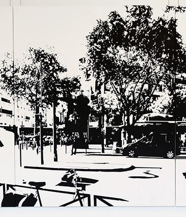 BD-PARIS15_Place Charles Michels #07, 2015, huile sur toile, 162 x 390 cm, 15000euros