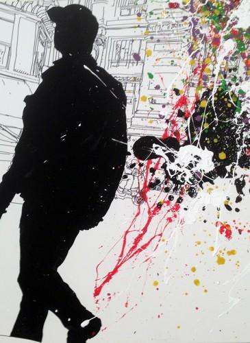 Laurent NICOLAS  Rue St Augustin 80x80 cm 2015 technique mixte -BD